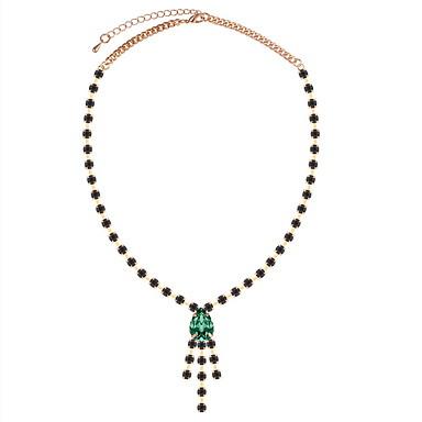 Žene Teniski lanac Ogrlice s privjeskom Umjetno drago kamenje Ispustiti dame Luksuz Europska Elegantno Crn Plava Tamno zelena 42 cm Ogrlice Jewelry 1pc Za Party Rođendan