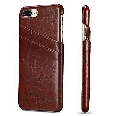 Недорогие Кейсы для iPhone-Кейс для Назначение Apple iPhone 8 Pluss / iPhone 7 Plus Бумажник для карт Кейс на заднюю панель Однотонный Твердый Настоящая кожа