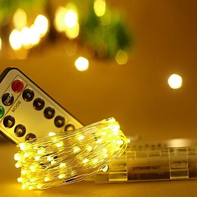 10m Žice sa svjetlima 100 LED diode Toplo bijelo Ukrasno AA baterije su pogonjene 1set