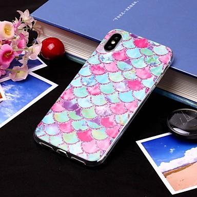 voordelige iPhone-hoesjes-hoesje Voor Apple iPhone XS / iPhone XR / iPhone XS Max IMD / Doorzichtig Achterkant Lijnen / golven / Voedsel Zacht TPU