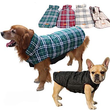 رخيصةأون ملابس وإكسسوارات الكلاب-كلب المعاطف سترة الشتاء ملابس الكلاب بني أخضر أحمر كوستيوم هاسكي لابرادور Malamute ألاسكا قطن Plaid / Check مقاومة الماء الدفء قابل للعكس XS S M L XL XXL