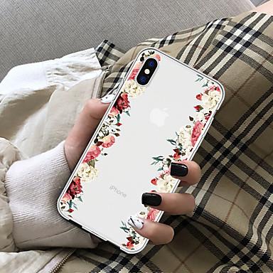 رخيصةأون أغطية أيفون-غطاء من أجل Apple iPhone X / iPhone 8 Plus / iPhone 8 شفاف غطاء خلفي زهور ناعم TPU