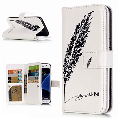 voordelige Galaxy S6 Edge Hoesjes / covers-hoesje Voor Samsung Galaxy S9 / S9 Plus / S8 Plus Portemonnee / Kaarthouder / met standaard Volledig hoesje Veren Hard PU-nahka