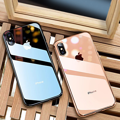 cheap iPhone 5 Cases-Case For Apple iPhone XS / iPhone XR / iPhone XS Max Plating / Ultra-thin / Translucent Back Cover Solid Colored Soft TPU