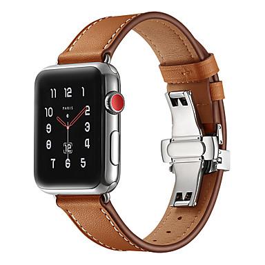 voordelige Smartwatch-accessoires-Horlogeband voor Apple Watch Series 5/4/3/2/1 Apple Butterfly Buckle Echt leer Polsband