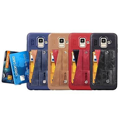 رخيصةأون حافظات / جرابات هواتف جالكسي J-غطاء من أجل Samsung Galaxy J6 (2018) / J5 (2017) / J4 حامل البطاقات / مع حامل / حامل الخاتم غطاء خلفي لون سادة ناعم جلد PU / نحيف جداً