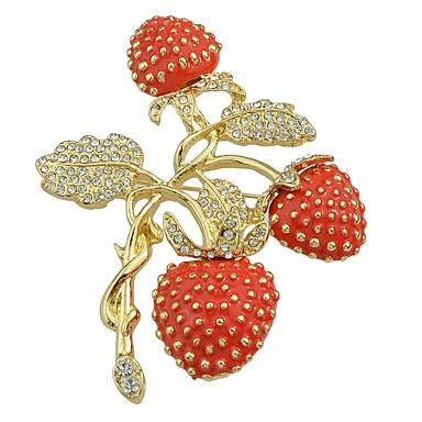 povoljno Broševi-Žene Kubični Zirconia Broševi Tropical Leaf Shape Jagoda dame Stilski Osnovni Broš Jewelry Crvena Za Dar Dnevno