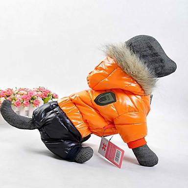 رخيصةأون ملابس وإكسسوارات الكلاب-كلب المعاطف هوديس الشتاء ملابس الكلاب برتقالي أصفر أحمر كوستيوم قطن ألوان متناوبة الدفء ضد الرياح الرياضات XS S M L XL XXL