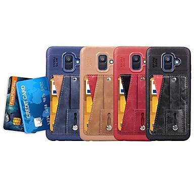 Θήκη Za Samsung Galaxy A5(2018) / A6 (2018) / A6+ (2018) Utor za kartice / sa stalkom / Prsten držač Stražnja maska Jednobojni Mekano PU koža / Ultra tanko