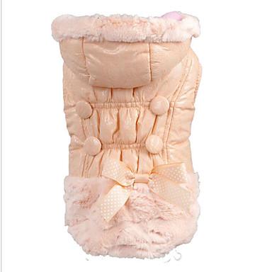 Psi Mačke Kaputi Hoodies Zima Odjeća za psa Pink Kostim Umjetnog krzna Jednobojni Jednostavan Mašna Ugrijati Moda S M L