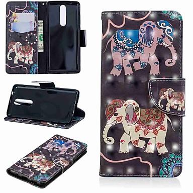Недорогие Чехлы и кейсы для Nokia-Кейс для Назначение Nokia Nokia 5.1 / Nokia 3.1 / Nokia 2.1 Кошелек / Бумажник для карт / со стендом Чехол Слон Твердый Кожа PU