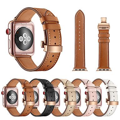 Pogledajte Band za Apple Watch Series 5/4/3/2/1 Apple Leptir Buckle Prava koža Traka za ruku