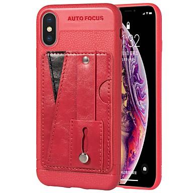 Θήκη Za Apple iPhone X / iPhone 8 Plus / iPhone 8 Utor za kartice / sa stalkom / Prsten držač Stražnja maska Jednobojni Mekano PU koža