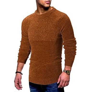 Muškarci Dnevno Jednobojni Dugih rukava Slim Regularna Pullover Džemper od džempera, Okrugli izrez Jesen / Zima Crn / Braon / Sive boje M / L / XL