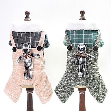 Psi Jumpsuits Odjeća za psa Jednobojni Plaid / Check Crtani film Bijela Zelen Traperice Pamuk Kostim Za Zima Uniseks Sweet Style Ugrijati