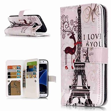 Недорогие Чехлы и кейсы для Galaxy S3-Кейс для Назначение SSamsung Galaxy S9 / S9 Plus / S8 Plus Кошелек / Бумажник для карт / со стендом Чехол Эйфелева башня Твердый Кожа PU