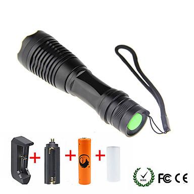 olcso Zseblámpák-UltraFire LED zseblámpák 1800/2000/2200 lm LED LED 1 Sugárzók 5 világítás mód akkuval és töltőkkel Nagyítható Kempingezés / Túrázás / Barlangászat Mindennapokra Kerékpározás Fekete