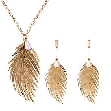 Žene Ogrlica Naušnica Long Leaf Shape dame Jednostavan Europska Moda Imitacija bisera Naušnice Jewelry Zlato / Pink Za Kauzalni Dnevno 1set