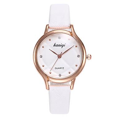 نسائي ساعة المعصم كوارتز جلد أسود / الأبيض / أزرق ساعة كاجوال مماثل سيدات موضة الحد الأدنى - أبيض أسود