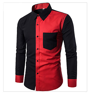 Majica Muškarci - Aktivan / Osnovni Dnevno / Vikend Pamuk Color block Crn / Dugih rukava