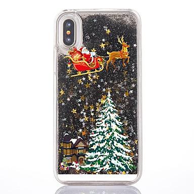Недорогие Кейсы для iPhone X-Кейс для Назначение Apple iPhone XS / iPhone X / iPhone 8 Pluss Движущаяся жидкость / Прозрачный / С узором Кейс на заднюю панель Рождество Твердый ПК