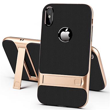رخيصةأون حافظات أيفون XS-غطاء من أجل Apple iPhone XS / iPhone XR / iPhone XS Max مع حامل غطاء خلفي لون سادة قاسي الكمبيوتر الشخصي