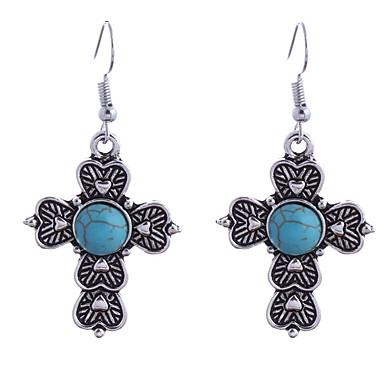 Žene Tirkiz Viseće naušnice 3D Kereszt Kružni križ dame Stilski Jednostavan zapadnom stilu Naušnice Jewelry Pink Za Dnevno 1 par