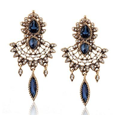 Žene Kubični Zirconia Viseće naušnice 3D dame Boemski stil Umjetno drago kamenje Naušnice Jewelry Zlato Za Dnevno 1 par