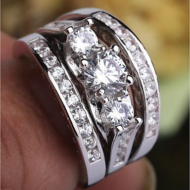 billige Ring sæt-Dame Ring Ring Set Midiringe Kvadratisk Zirconium 3stk Sølv Plastik Platin Belagt Simuleret diamant Firekantet symbol Damer Trendy Romantik Fest Stævnemøde Smykker Flerlags Tidligere Nuværende Fremtid