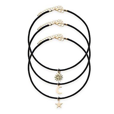 Žene Choker oglice Klasičan Sunce MOON Csillag Polumjesec jeftino dame Lutaka Lolita PU Legura Crn 30+5 cm Ogrlice Jewelry 3pcs Za Dnevno Festival