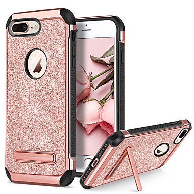 voordelige iPhone 5 hoesjes-hoesje Voor Apple iPhone 8 Plus / iPhone 8 / iPhone 7 Plus Schokbestendig / met standaard / Beplating Achterkant Glitterglans Hard PU-nahka / TPU / PC