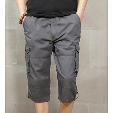 Muškarci Vojni Dnevno Slim Kratke hlače / Cargo hlače Hlače - Jednobojni Crn Sive boje Žutomrk L XL XXL
