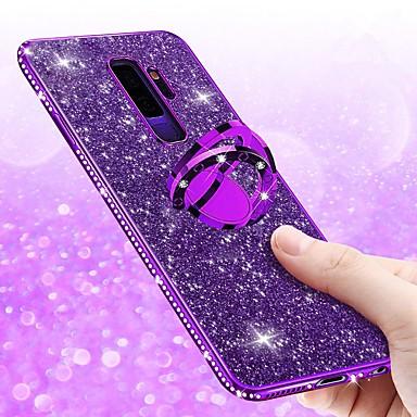 voordelige Galaxy S-serie hoesjes / covers-hoesje Voor Samsung Galaxy S9 / S9 Plus / S8 Plus Strass / Beplating / Ringhouder Achterkant Glitterglans Zacht TPU