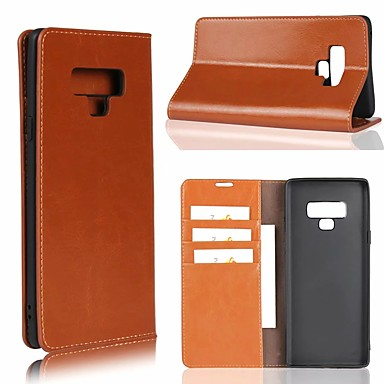 Недорогие Чехлы и кейсы для Galaxy Note-Кейс для Назначение SSamsung Galaxy Note 9 / Note 8 / Note 5 Бумажник для карт / со стендом Чехол Однотонный Твердый Настоящая кожа
