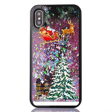 voordelige iPhone-hoesjes-hoesje Voor Apple iPhone XS / iPhone X / iPhone 8 Plus Stromende vloeistof / Transparant / Patroon Achterkant Kerstmis Zacht TPU
