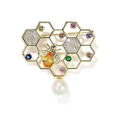 Žene Kristal Broševi Pčela dame Stilski Biseri Umjetno drago kamenje Pozlaćeni Broš Jewelry Zlato Za Dnevno