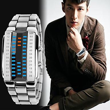 Недорогие Часы на металлическом ремешке-Муж. Спортивные часы электронные часы Цифровой Кольцеобразный Защита от влаги Цифровой Черный Серебряный / Два года / Нержавеющая сталь / Японский / Календарь / Секундомер