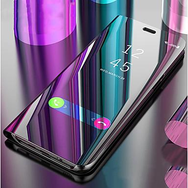 Недорогие Чехлы и кейсы для Galaxy J-Кейс для Назначение SSamsung Galaxy J8 (2018) / J7 Prime / J7 (2017) со стендом / Зеркальная поверхность / Флип Чехол Однотонный Твердый Кожа PU