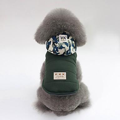 Psi Kaputi Zima Odjeća za psa Zelen Sive boje Kostim Buldog Shiba Inu Mops (Pug) Pamuk Jednobojni Maskirni Ležerno / za svaki dan Grijači S M L XL XXL