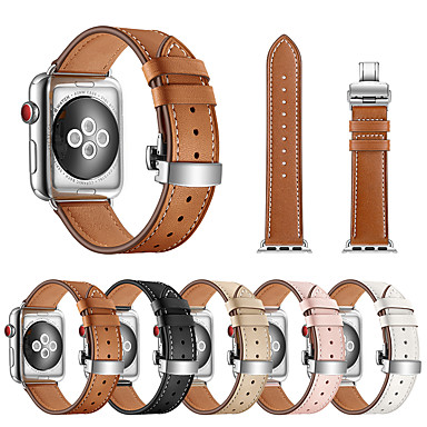 voordelige Smartwatch-accessoires-Horlogeband voor Apple Watch Series 5/4/3/2/1 Apple Butterfly Buckle Echt leer Polsband