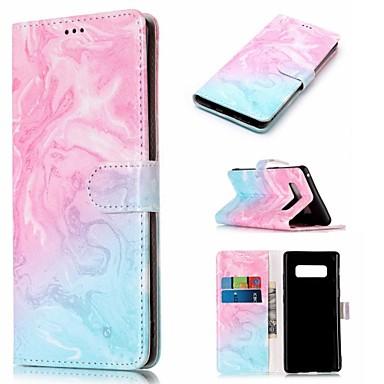 Недорогие Чехлы и кейсы для Galaxy Note-Кейс для Назначение SSamsung Galaxy Note 9 / Note 8 Кошелек / Бумажник для карт / со стендом Чехол Мрамор Твердый Кожа PU