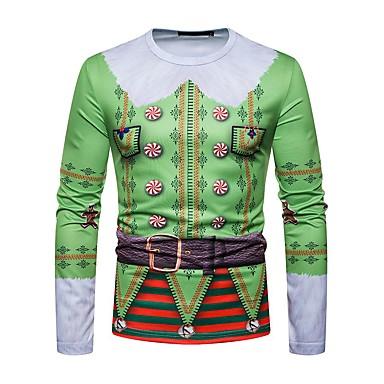 رخيصةأون تيشيرتات وتانك توب رجالي-رجالي عيد الميلاد تيشرت, هندسي رقبة دائرية / كم طويل