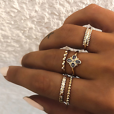 Žene Prestenje knuckle ring Prstenasti set Prsten za više prstiju 5pcs Zlato Srebro Smola Imitacija dijamanta Legura Circle Shape dame Vintage Punk Dar Dnevno Jewelry Retro Djetelina Cool