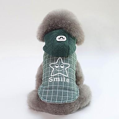 Psi Kaputi Zima Odjeća za psa Zelen Sive boje Kostim Buldog Shiba Inu Mops (Pug) Pamuk Uglađeni Slogan Ležerno / za svaki dan Grijači S M L XL XXL