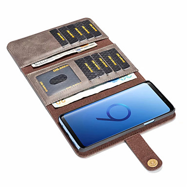 رخيصةأون حافظات / جرابات هواتف جالكسي S-غطاء من أجل Samsung Galaxy S9 / S9 Plus / S8 Plus حامل البطاقات / ضد الصدمات / قلب غطاء كامل للجسم لون سادة قاسي جلد PU