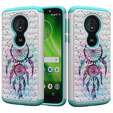 Недорогие Чехлы и кейсы для Motorola-Кейс для Назначение Motorola MOTO G6 / Moto G6 Play / Moto E5 Play Защита от удара / Стразы / С узором Кейс на заднюю панель Ловец снов / Стразы Твердый ПК