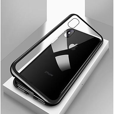 Недорогие Кейсы для iPhone 7 Plus-Кейс для Назначение Apple iPhone X / iPhone 8 Pluss / iPhone 8 Защита от удара / Прозрачный / Магнитный Чехол Однотонный Твердый Закаленное стекло / Металл