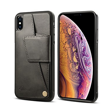 voordelige iPhone 6 Plus hoesjes-hoesje Voor Apple iPhone XR / iPhone XS Max / iPhone 8 Plus Portemonnee / Kaarthouder / Schokbestendig Achterkant Effen Hard PU-nahka