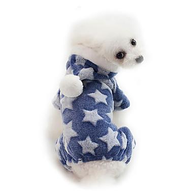 رخيصةأون ملابس وإكسسوارات الكلاب-كلاب هوديس الشتاء ملابس الكلاب الدفء أزرق زهري أزرق داكن كوستيوم قطن لون سادة كارتون نجوم تصميم أنيق الدفء S M L XL XXL