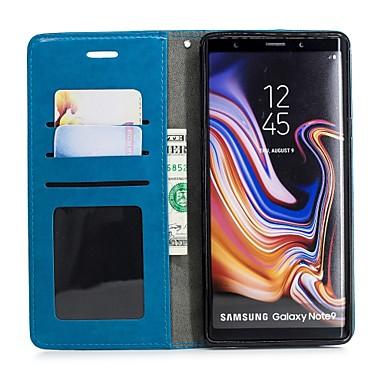 Недорогие Чехлы и кейсы для Galaxy Note-Кейс для Назначение SSamsung Galaxy Note 9 Кошелек / Бумажник для карт / со стендом Чехол Кот Твердый Кожа PU